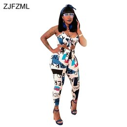 a3876b9bf595 ZJFZML Streetwear 2 Piece Set Women V Neck Sleeveless Letter Print Crop Top  And Casual Bodycon Full Trouser Two Pcs Outfit Suit