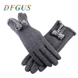 luvas de algodão orgânico Desconto 2019 New Women Gloves For Winter Lace Bow Gloves Ladies Girls guantes Touch Screen Mittens Wool Glove for Warm Women