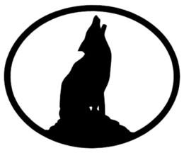 Vinilos de pared lobos online-Wolf vinilo pegatina coche ventana de la pared parachoques chirriar oval perro animal negro blanco creativo etiqueta engomada del coche
