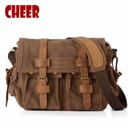 Wholesale Military Laptop Messenger Bag - Men's shoulder hand bag canvas laptop retro bags dollar price messenger dollar price briefcase clutch man military notebook bag