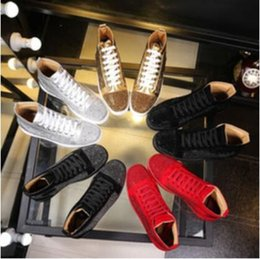 Wholesale Nude Rhinestone Shoes - Wholesale 2018 men women rhinestone high top shoes famous designer brand red bottom Sneakers mens loubbis shoes with box and dustbag