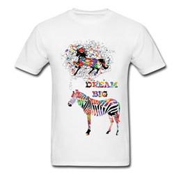 Disegni della pittura della lettera online-Dream Big 2018 Zebra Print Uomini T-shirt bianca Colorata pittura ad acquerello Cavallo T-Shirt Cotone Art Design Top