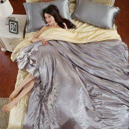 романтические пуховые одеяла Скидка Романтический стиль 4 шт. костюм наборы постельных принадлежностей негабаритных скольжения сенсорный роскошные пододеяльники мода шелковые пододеяльник для домашнего текстиля 44yy ZZ