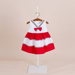 Wholesale Korean Cute Dress Lines - dress 4 color Korean style 2018 new arrival girl summer cute striped bowknot Dress high quality cotton hit color dress free shipping