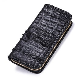 genuine crocodile skin leather Coupons - Knitted Fringe Design Genuine Crocodile Leather Long Style Zipper Closure Men Wallet Alligator Skin Man Card Holder Large Purse