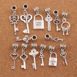 Wholesale Key Big - 14Styles Love Key Locket Dangle Charm 140pcs lot Metal Big Hole Beads Dangle Fit European Bracelet Jewelry DIY