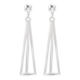 Sortes de boucles d'oreilles en Ligne-Sterling Silver Three Dimensional Triangle Earrings Tempérament simple Etudiants coréens Personnalité de l'air froid Tous types d'oreille