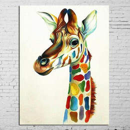 hand painted oil paintings Promo Codes - Large Paintings Hand-painted Abstract Animal Oil Painting on Canvas Home Decor Wall Art Knife Palette Giraffe Pictures