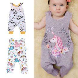 Wholesale Summer Rainbow - Baby Unicorn Jumpsuits Rainbow Floral Cartoon Print Summer Sleeveless Shoulder Buckles Vest Romper A-class Cotton 6-24M