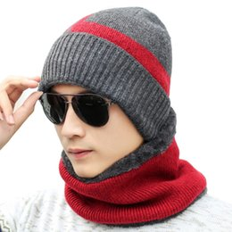 963f1f703f5 2018Men Hat Autumn Winter Plus Cashmere Caps Men S Knitted Hat Warm Cycling Windproof  Neck Warmer Knit Cap Scarf Set Winter
