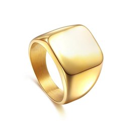 Wholesale Blank Jewelry Square - Men Stainless Steel Blank Plain Square Wedding Finger Ring Band Punk Jewelry Wide Aros Aros anello anillo bague anel