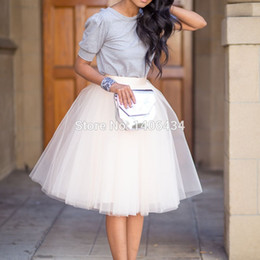 Wholesale adult yellow tulle skirt - Wholesale- Tulle Skirt Summer Style Knee Lenght Skirts Womens Adult Tutu Pleated Skirt Saias women tutu skirt