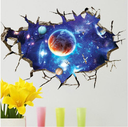 Wholesale Wallpaper For Glass - 2018 Newly Creative Space Galaxy Stars Planets Universe 3D Wall Mural Photo Wallpaper Eco-friendly Wall Sticker 5 Style