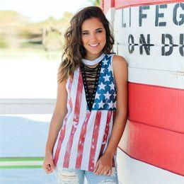 bandiere fredde Sconti Donne Bandiera Americana Stampato Sciolto T-Shirt Top Camicetta Croce Rive Cintura Top Tees Sexy Cool T Shirt Abbigliamento Per Donna FS5584