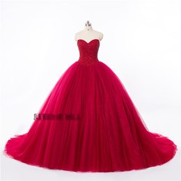 2019 Alta Qualidade Real Tiro Vestidos de Noite Túnica Vermelha Cintas Halter Cristal Frisada Vestidos de Baile Quinceanera Vestidos HY155 de