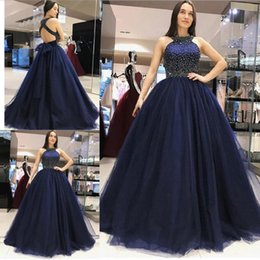 Wholesale china pears - China Wholesale Ball Gown Tulle Quinceanera Dresses Jewel Neck Hollow Back Beaded Sequin Floor Length Girls Prom Gown With Bow