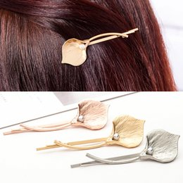 Wholesale metal clips china - Metal Calla Lily Hair Clips Simple Imitation Pearl Alloy Flower Hair Pins 2018 Fashion Women Barrettes Accessories Wholesale Free Shipping
