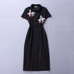cotton embroidered ladies dresses NZ - 2018 Summer Fall Newest Fashion Lady Flower Embroidered Short Sleeve Mid-Length One Piece Dress Runway Dresses S11728