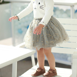 Saias de bolha do bebê on-line-Boutique baby girl saia tutu estrelas doces saias da bolha tule roupas meninas bonito 80-90-100-110-120, 1-5y cinza preto rosa atacado
