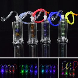 """Wholesale Hose Joints - Recycler Dab Rig Led Light Glass Bongs Water Pipes Bong 10mm Joint 4.5"""" inch Mini Oil Rig Ball Perc with Banger and 20"""" Hose Glowing Rig"""