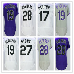 Wholesale Colorado Shorts - Nolan Arenado Jersey 28 Colorado Gray Purple White Pinstripe 17 Todd Helton 19 Charlie Blackmon 27 Trevor Story Jerseys Men Women Youth