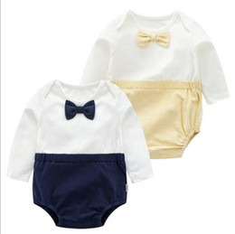 Wholesale Halloween Uk - 2 colors Ins Baby kids summer boy cotton romper O-neck gentleman UK style short sleeve bow tie romper kids cuasual formal clothing