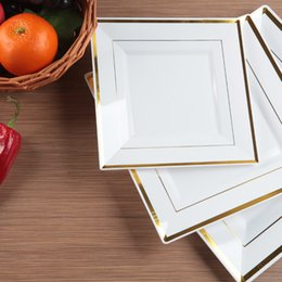 Wholesale Square Dishes Set - 6 pcs set Party Plastic Square Plates Withstand 80 Degrees Celsius Square Steak Gold Inlay Plate Fruit Desserts Salad Dishes 062