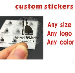 Wholesale Sticker Transparent - custom stickers   logo plastic PVC Vinyl paper transparent clear adhesive round hologram stationery sticker labels printing