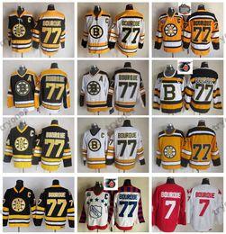 Ray bourque jersey on-line-2010 inverno clássico Boston Bruins Ray Bourque camisas de hóquei 75º aniversário # 77 Raymond Bourque Vintage preto costurado camisas C Patch