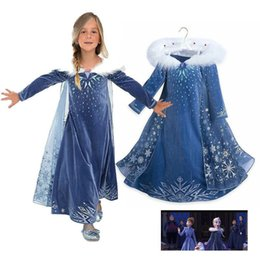Wholesale fairy snow - children movie costume cosplay skirts baby girls snow queen princess dress kids dress up prom party dress with snowflake BBA191