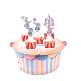 Ragazzi di dolciumi per bambini online-Circo Baby Shower Cake Stand Boy Girl Primo 1 ° Compleanno Decorazione Vintage Tenda Cupcake Stand Centrotavola Decorazione per feste