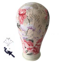 2019 trípodes ajustables Cork Canvas Block Salon Pelucas profesionales que hacen la flor Mannequin Model Manikin Head Moda ajustable de metal Tripod Stand Holde rebajas trípodes ajustables