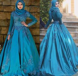 robes de mariée couleur bleu Promotion Blue Ice Color Manches Longues Dentelle Satin Robes De Mariée Musulmane Avec Robe De Bal Hijab Crystal Dubai Robes De Mariée Robe De Mariee