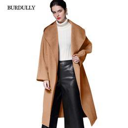 22c64a96439c BURDULLY Ladies Long Winter Warm Coat Women Female Autumn Top Quality Cashmere  Wool Woolen Overcoat Outerwear Loose Jacket