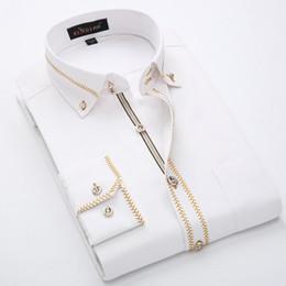 Camisas de lujo para hombre Camisa de vestir para hombre de manga larga Camisa de algodón blanco y negro Camisa de esmoquin para hombres Tallas grandes Slim Fit Chemise Homme desde fabricantes