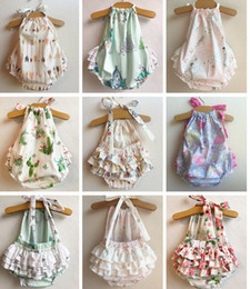 Wholesale Onesies Tutus - INS Baby Girls Unicorn Mermaid Romper 5style Arrow flower cotton Ruffle Newborn Onesies Summer Halter Bow Infant Bodysuit Jumpsuits 0-2Years