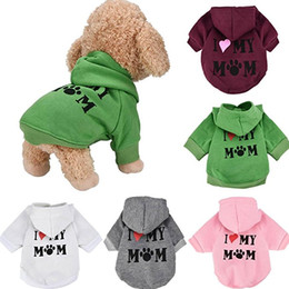 Pet Clothes Puppy Winter Hoodie Sweater Dog Coat Warm Sweatshirt Love My Mom Printed Dog Shirt