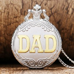 Wholesale Silver Quartz Pocket Watch - Cool Silver & Golden DAD Hollow Design Quartz Pocket Watches with Necklace Chain Father's Day Gifts for Men Father