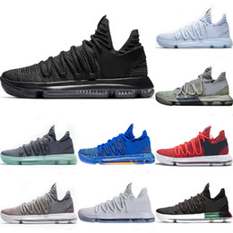 the latest 616ee 8579d Newest Zoom KD 10 Anniversary PE BHM Red Oreo triple black Men Basketball  Shoes KD 10 Elite Kevin Durant trainers Athletic Sport Sneakers