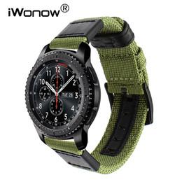 Correa de cuero genuino de Nylon + Leather para Samsung Gear S3 Clásico de la correa de reloj de la correa de la correa de la correa de la venda de la liberación rápida desde fabricantes