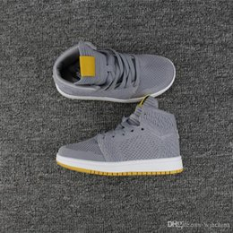 Wholesale Wolf Table - Air 1 retro HI knit Wolf Grey Golden Harvest Gris Loup Sneakers Recolte Doree Basketbol shoes Yellow Grey White Sports Sneakers (With Box)