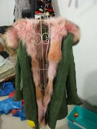 Wholesale Pink Blue Dog Collar - Pink fur lining army green long coats Mr and Mrs Italy Fur-Trimmed & -Lined Parka Mr & Mrs furs coyote fur & Raccoon Fur Parka