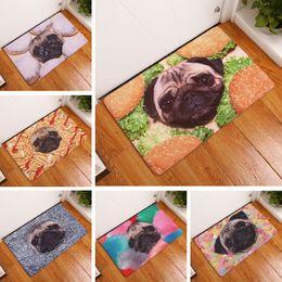 Коврик для ванной смешные мопсы печатных мат 50x80cm туалет ковер ванная комната открытый коврик кухня коврики пол Оптовая от