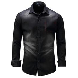 Wholesale mens denim dress shirt - Denim Washed Shirts Men Long Sleeve Male Leisure Dress Shirt Mens Jean Shirts Camisa Masculina Plus Size