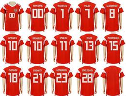 futebol russo Desconto Crianças Rússia Camisas De Futebol 10 DZAGOEV ARSHAVIN 11 KERZHAKOV 9 KOKORIN KOMBAROV POLOZ AMEDOV Personalizado Casa Camisas de Futebol Da Juventude Russa Vermelho