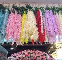 accessoires de fleurs suspendus Promotion 1.4 M 3 longues branches / pc Wisteria fleur artificielle vigne fleur chaîne suspendue glycine orchidée suspendue pour parti wed photographie prop