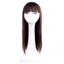 Wholesale Peruca Natural - Amir 20 inch Long silky straight wigs synthetic cosplay wig heat resistant fiber hair with neat bangs full hair piece 10 colors Peruca