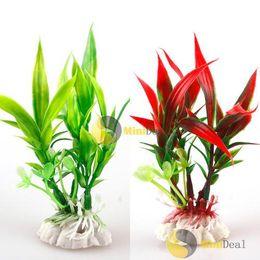 decorazioni del serbatoio di pesce della pianta all'ingrosso Sconti Wholesale- [MiniDeal] Rosso verde plastica pianta erba acquario decorativo serbatoio di pesce paesaggio decorazione calda