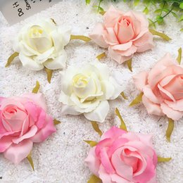 white silk roses flower heads Coupons - 5 PCS (7 cm) artificial silk gold rose flower heads home decoration DIY wedding garland collage decorative artificial flowers