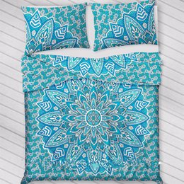 indian bedding Promo Codes - Bohemian Bed Cover set 3d boho Mandala printing bed sheet With Pillow Case Indian Home Decor Bedspread tapestry Wholesale Hot